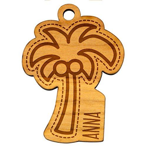 Sleutelhanger palm plant boom tropisch hout natuur hanger met individuele gravure wenstekst geschenk ca. 39 x 53 mm