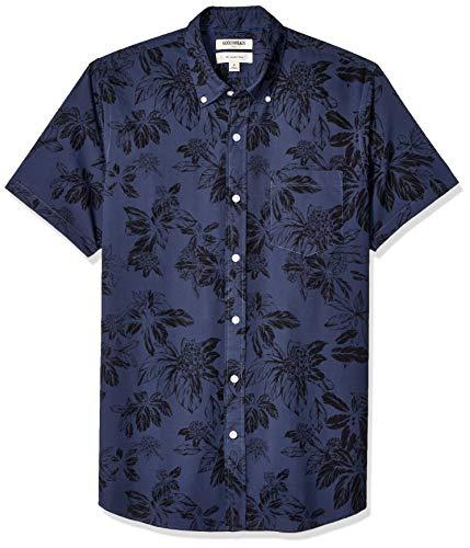 Amazon-Marke: Goodthreads Herrenhemd, kurzärmlig, schmale Passform, bedruckt, aus Popeline, Navy Large Floral, US S (EU S)
