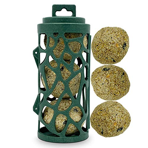 Eco Friendly Bird Feeder with 3 Suet Balls Included - Recycled Plastic Hanging Feeders for Garden Birds- Attracting Tits, Finches, Robins & many more Wild Birds