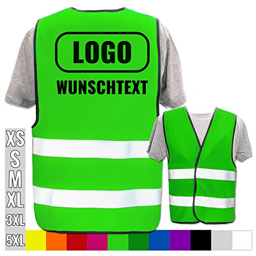 Warnweste selbst gestalten mit eigenem Aufdruck * Bedruckt mit Name Text Bild Logo Firma, Position & Druckart:Rücken/Standard-Druck, Farbe & Größe:Neon Grün/Größe 3XL/4XL