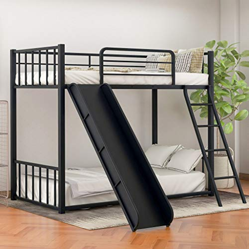 Twin Bunk Beds for Kids, Metal Bunk Bed with Slide, No Box Spring Required (Black Low Bunk Beds with Slide)