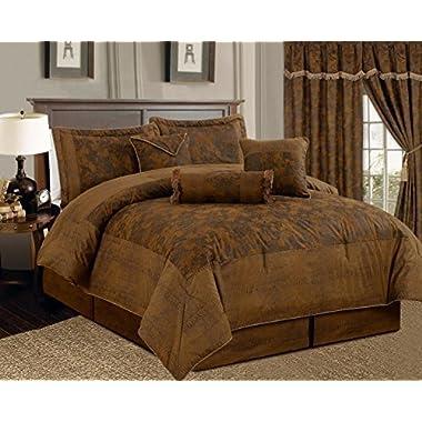 7 Piece Dark Camel Brown Lavish Oversize (106 X 94 ) Comforter Set Micro Suede Bed In A Bag California King Size Bedding