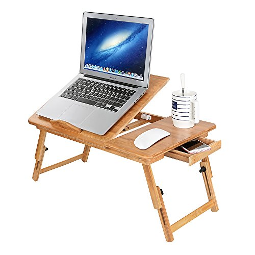 Photo of Zipom 100% Portable Bamboo Laptop Stand Foldable Desk Notebook Table Laptop Bed Tray Bed Table, Flat Style design, play games on bed Table with Drawer (flat-21.5in)