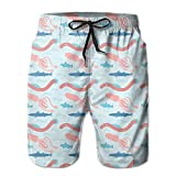 Ocean Animal Vector Men's Quick Dry Beach Board Shorts Summer Swim Trunks for Father's Day for Boy Swimming Large