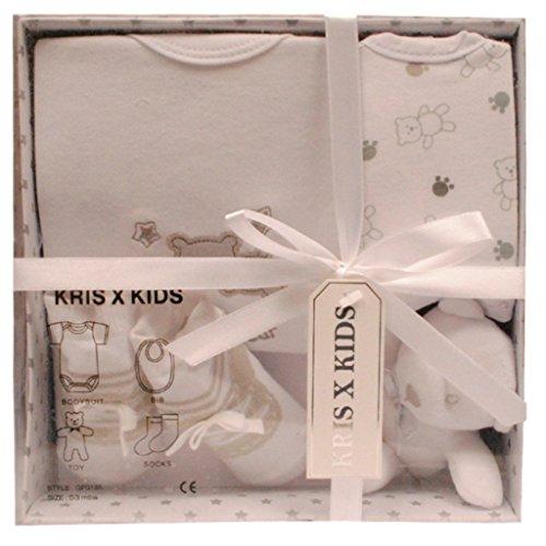 Nouveau-né ensemble de cadeau de bébé avec Bodysuit, bavoir, jouet, chaussettes dans une boîte-cadeau. 0 - 3 mois