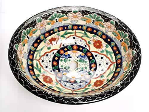 Loretta - Mexikanisches Ovales Waschbecken | Oval Einbauwaschbecken mit Rand | Keramik Talavera Einbau/Unterbau Waschbecken aus Mexiko