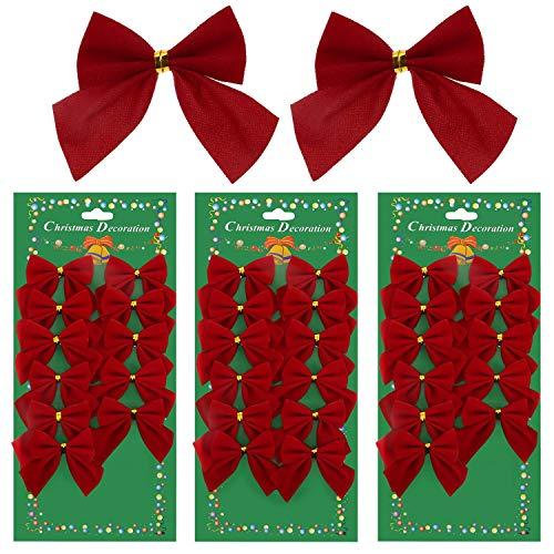 DILISEN 36 Piezas de Lazos de Decoración de Navidad Lazos Rojos 50 mm para Árbol de Navidad, Decoraciones, Regalos, Artes y Artesanías