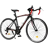 Max4out Road Bike for Men and Women with Aluminum Alloy Frame, Featuring 21 Speed Shimano Shifter, 700C Wheel and Y Brake Bicycles, Black