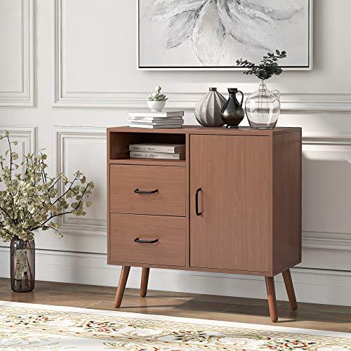 Aparador con estantes para cocina, sala de estar, dormitorio, pasillo, unidad de madera con 2 cajones y una puerta
