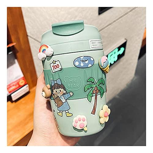 Botella de agua linda con la paja para las niñas de los niños de la escuela, BPA Tritan Free Tritan a prueba de fugas de la manija de transporte limpio fácil de limpiar / pegatinas de avión(370ml, A)