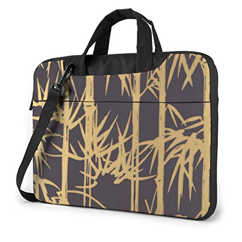 Gold Bamboo Laptop Bag Shockproof Briefcase Tablet Carry Handbag for Business Trip Office 14 inch