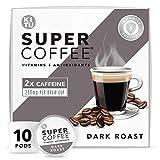 Kitu Super Coffee Pods, Energy & Immunity (2x Caffeine, Vitamins, Antioxidants) [Dark Roast] 10 Count   Keto Coffee Pods Compatible with Keurig 2.0 K-Cup Brewers