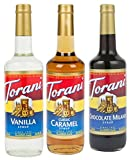 Torani Syrup Coffee Variety Pack of Three Best Flavors - Vanilla, Caramel Classic, Chocolate Milano, 3-count, 25.4-ounce Bottles