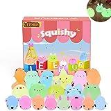 LEEHUR Squishy Kawaii Set, 20 Stück Mochi Mini Squeeze Spielzeug Squishies Mesh Ball Anti Stress Leuchtend Spielzeug Party Geschenke Dekoration für Jungen und Mädchen Osterspielzeug