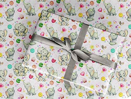 """Gift Wrapping Paper 30"""" x 84"""" Sheet Vintage Style (Elephant)"""
