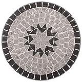 vidaXL Mosaik Bistrotisch Gartentisch Balkontisch Mosaiktisch Terrassentisch Tisch Beistelltisch Couchtisch Gartenmöbel Grau 61cm Keramik - 6
