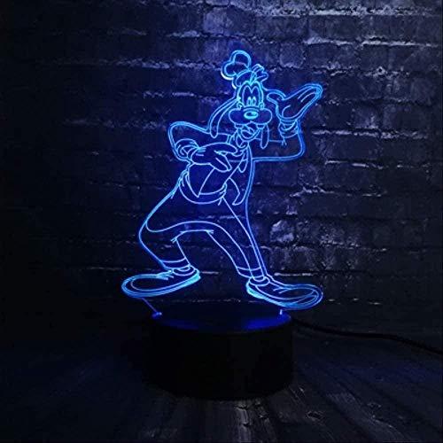 3D Lámpara ilusión USB 7 color Control remoto Luz nocturna LED Lava lamparas led Infantil Tinker Bell Base de estrella es Cambio de luz nocturna Decoración Navidad Niña Niño Regalo Touch es Goofy