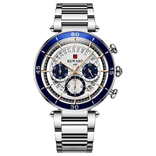 CXJC 43 mm Redáneo redondo reloj de negocios, reloj de deportes multifuncional a prueba de agua, disponible en 5 colores (Color : Plata)
