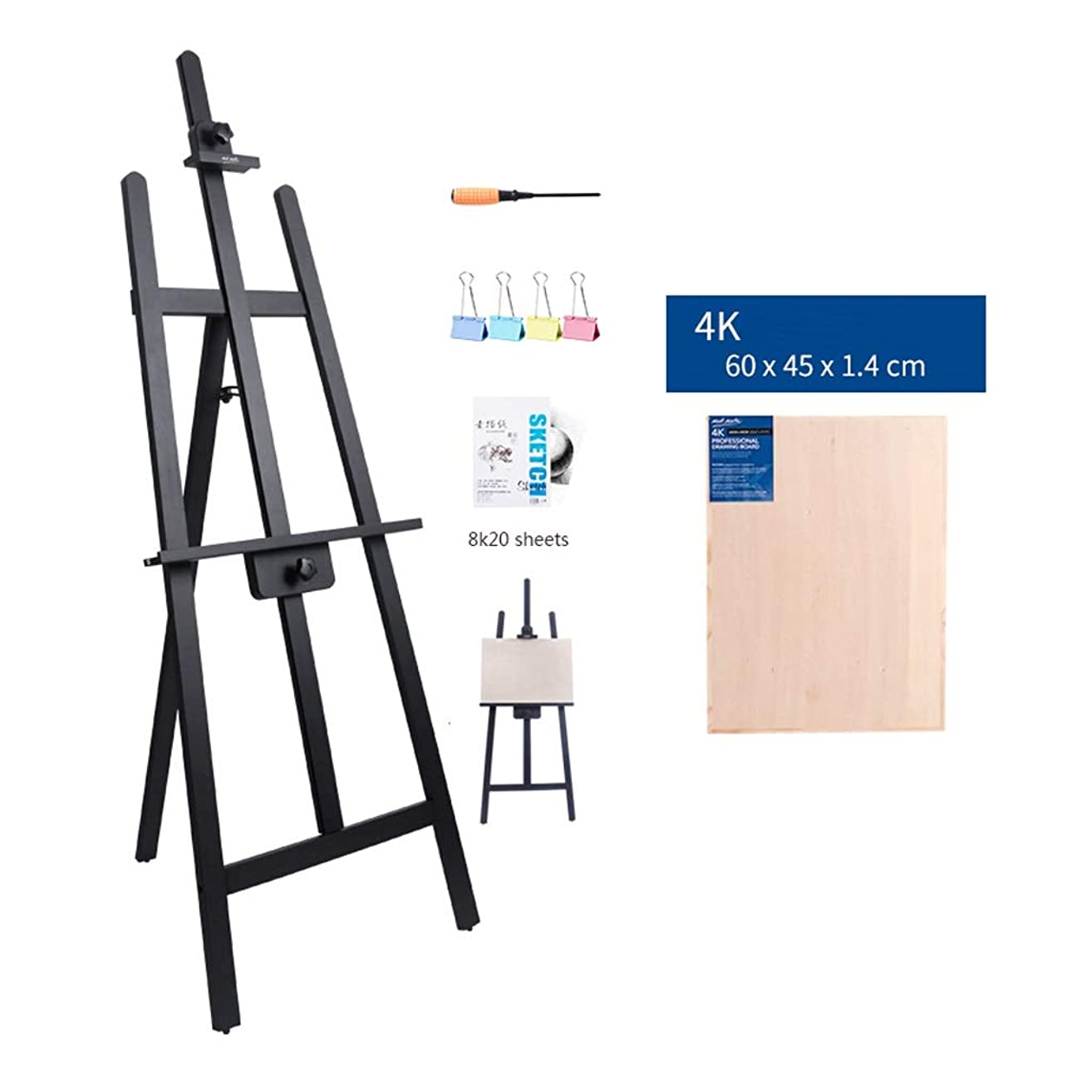 終わらせる土見分ける木製イーゼル高調整可能立ちイーゼル画家学生大人の三脚に描画ボード3色 h905 (Color : Black, Size : 4K drawing board)