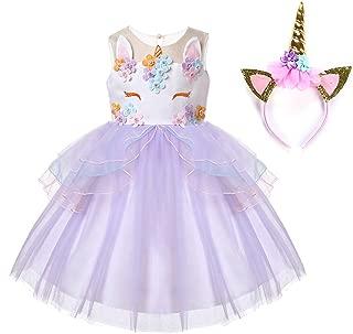 Baby Girl Unicorn Costume Pageant Flower Princess Party Tutu Dress with Headband