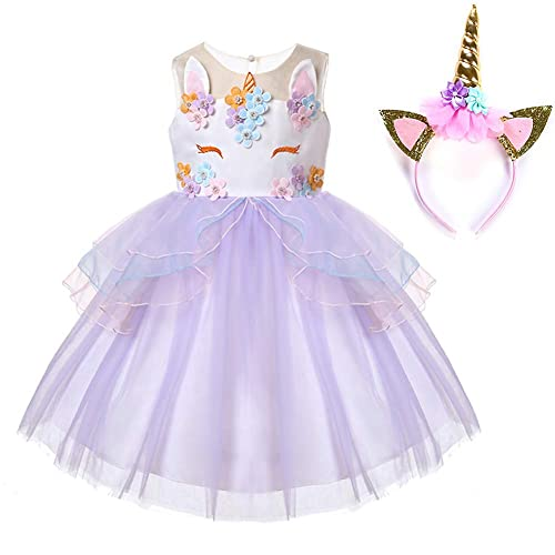 af7b6d94c80 Muababy Baby Girl Unicorn Costume Pageant Flower Princess Party Tutu Dress  with Headband