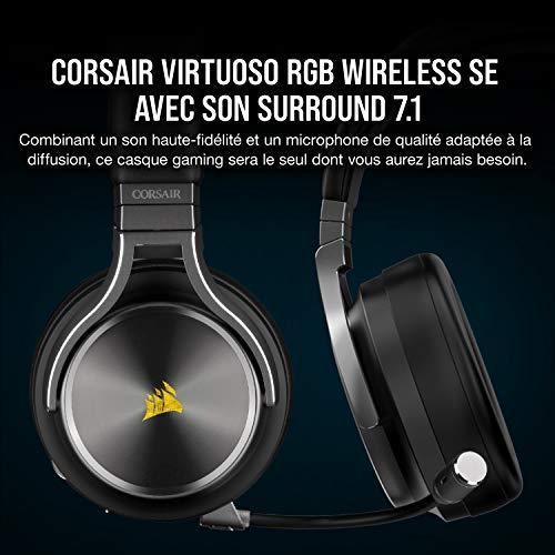 Corsair Virtuoso RGB Wireless SE Casque Gaming Haute Fidélité (Son Surround 7.1, Qualité Diffusion Microphone Omnidirectionnel avec PC, Xbox One, PS4, Switch et Mobiles Compatibilité) Gris acier