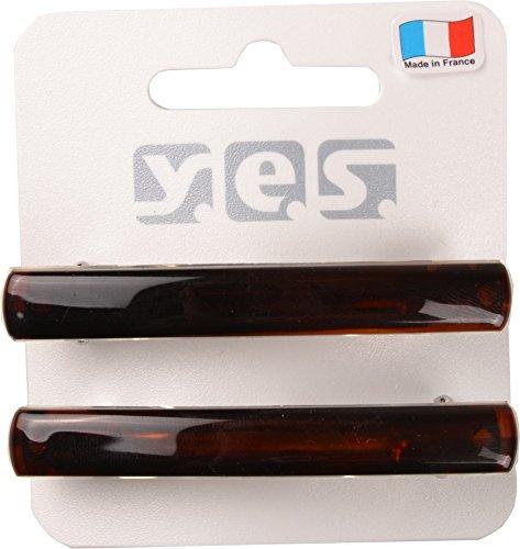 Solida Haarspange klein, Made in France, 1er Pack (1 x 2 Stück), braun