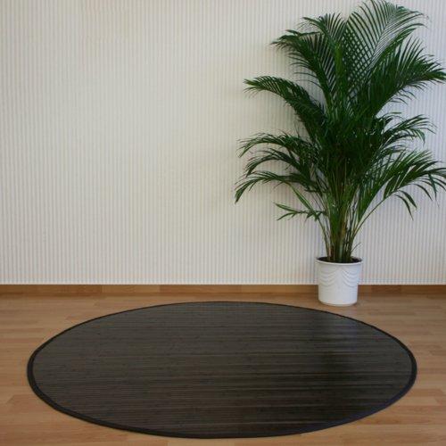 PEGANE Tapis Rond en Bambou Brun foncé 200 cm