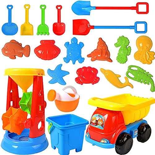 20PCS Sandspielzeug Set,Sandkasten-Eimer,Strand Spielzeug Sand Set,Strandspielzeug für Kleinkinder,Sandkasten-Spielzeug,Strandspielzeug Kinder,Strand Spielzeug Sand Set,Sanduhr und Muldenkipper