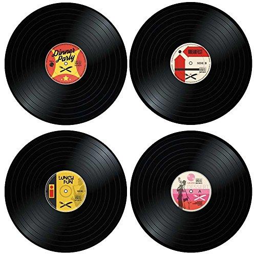 Monsterzeug Retro Tischunterlagen, Schallplatten Tischset, Schallplatten Untersetzer Teller, Schallplatten Unterlage, Vinyl Schallplatte, Platzset, Platzdeckchen, Vinyl Untersetzer