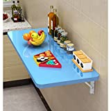 GQFGYYL-QD Mesa Plegable En La Pared, Mesa Plegable Computadora, Estante Plegable De Almacenamiento, Plegable Mesa De La Cocina En La Cocina,Azul,80X30cm