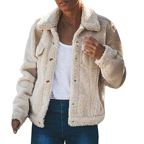 haoricu Fluffy Women Coats Faux Wool Blend Warm Winter Jacket Long Sleeve Button Up Fashion Outerwear White