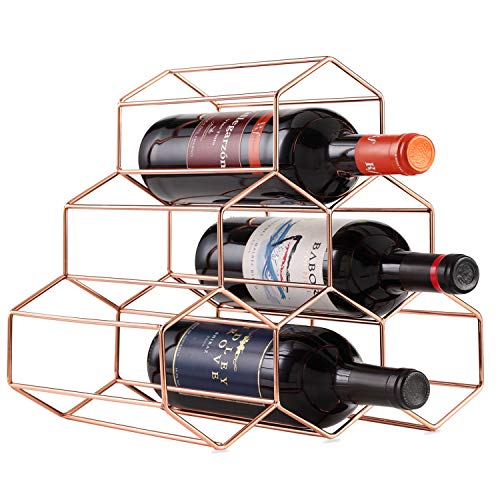 Buruis 6 Bottle Countertop Wine Rack - Wine Holder for Red White Wine Storage - Freestanding Metal Wine Rack Rose Gold-Honeycomb