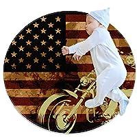 エリアラグ軽量 オートバイの頭蓋骨とアメリカの国旗 フロアマットソフトカーペット直径31.5インチホームリビングダイニングルームベッドルーム