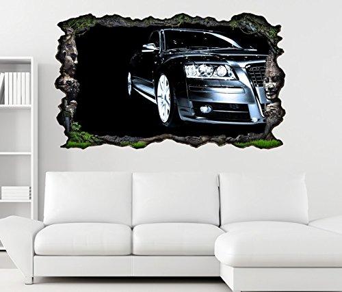 3D Wandtattoo Auto schwarz abstrakte Kunst Porsche modern selbstklebend Wandbild sticker Wand Aufkleber 11K012, Wandbild Größe F:ca. 162cmx97cm