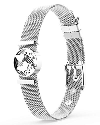 THIORA® - Armband mit Charms | Anhänger Charms | Silber | Worldmap Weltkugel | Geschenk | Mesh Charmband Set Damen | Classic Line (One World - Silber)