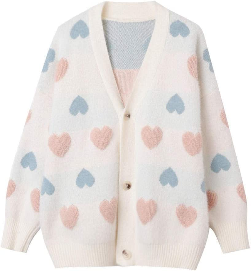 CHENGYYDP Cardigan Women's Long Sleeve Tops Harajuku Style Sweater Cardigan Loose Autumn Knitwear Jacket (Color : Pink, Size : One Size)