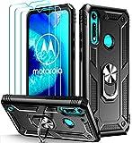 ivoler Funda para Motorola Moto G8 Power Lite + [Cristal Vidrio Templado Protector de Pantalla *3], Anti-Choque Carcasa con 360 Grados Anillo iman Soporte, Hard Silicona TPU Caso - Negro