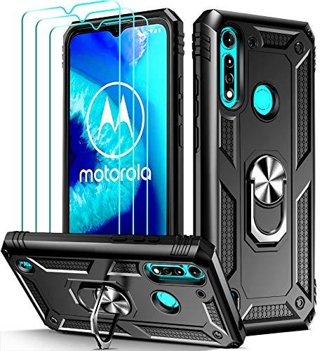 ivoler für Motorola Moto G8 Power Lite Hülle mit [Panzerglas Schutzfolie *3], Militärischer Schutz Stoßfest Handyhülle Anti-Kratzer Schutzhülle Hülle Cover mit 360 Grad Ring Halter, Schwarz