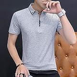 Camiseta De Manga Corta T-Shirt Camisa De Polo Casual De Verano para Hombre Manga Corta Cuello Vuelto Camisa De Color Ajustada para Hombre-Gray_2_Asian_Size_M