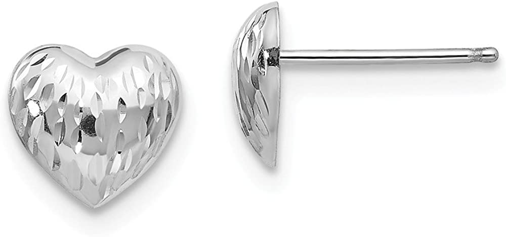 14k White Gold Heart Post Stud Earrings Love Fine Jewelry For Women Gifts For Her