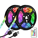 Tira LED TV, 7M (2X.3.5M) USB LED retroiluminado Bias Lighting con 16 colores y 4 modos dinámicos para HDTV de 40 a 65 pulgadas,...