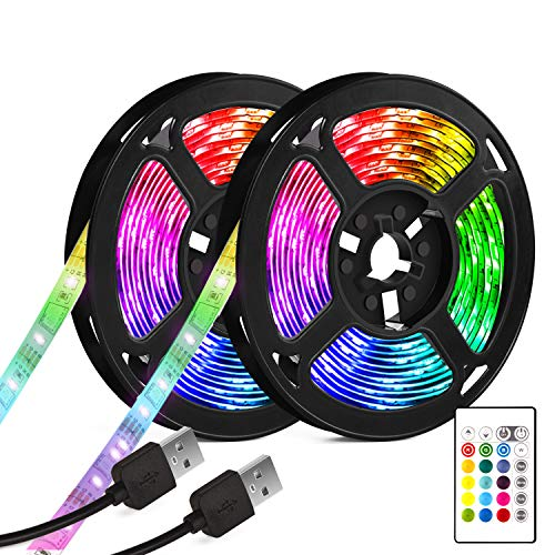 Tira LED TV, 7M (2X.3.5M) USB LED retroiluminado Bias Lighting con 16 colores y 4 modos dinámicos para HDTV de 40 a 65...