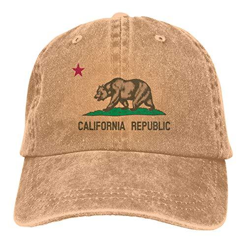 California Republic Printing Unisex Baseball Cap Vintage Washed Cotton Twill Adjustable Dad Hat