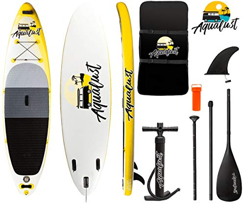 "AQUALUST 10\'6\"" SUP Board Stand Up Paddle Surf-Board aufblasbar Paddel ISUP 320x81cm gelb"
