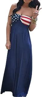 Women's Floor Length US Flag Bandeau Bodysuits Dress Off Shoulder American Flag Strapless Maxi Long Dress