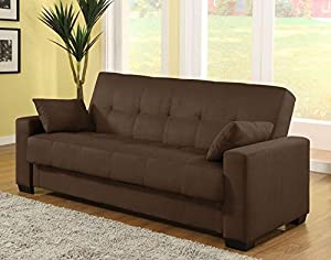 Sofa bed transitions from sofa to muilti-position lounger to sleeper Sleeper bottom cushion lifts up for additional convenient storage space Sofa lounger is upholstered in quality microfiber fabric Couch cushions are delicate and filled with a mixtur...
