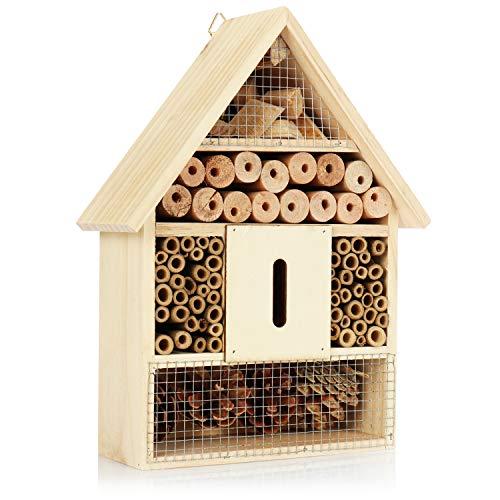 com-four® XL Insektenhotel aus Holz - Bienenhotel für Fluginsekten, Marienkäfer, Schmetterlinge und Fliegen - Insektenhaus zum Aufhängen (30cm)