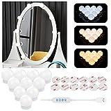 Aourow Luces de Espejo Maquillaje,Diseño de Cable USB Luz de Tocador LED con Interruptor y 10 Bombillas Regulables,3 Modos de Color y 10 Brillo (Sin Espejo y Cargador USB)