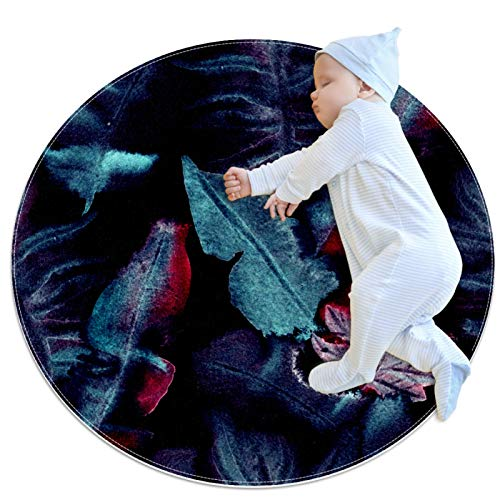 huhulala Alfombra de baño, alfombra redonda, supersuave, esponjosa, decoración del hogar, alfombras infantiles, decoración del cuarto de bebé, plantas tropicales